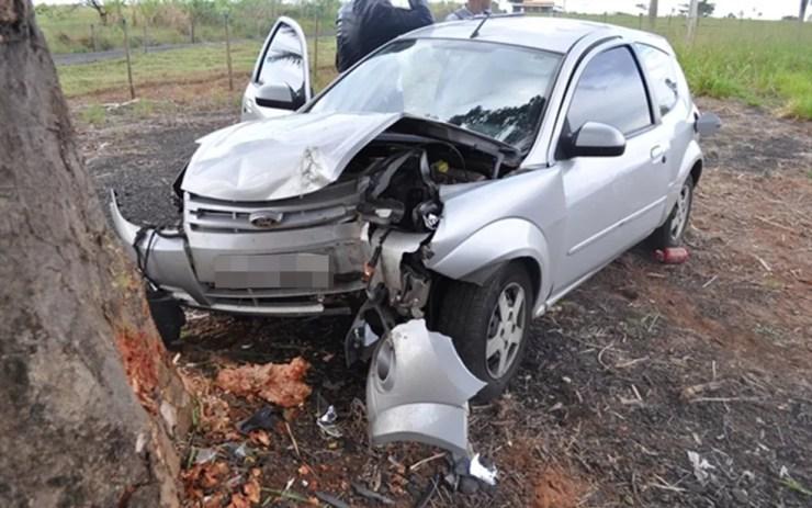 Jovem bate carro em árvore em rodovia de Votuporanga (Foto: Jornal A Cidade de Votuporanga)