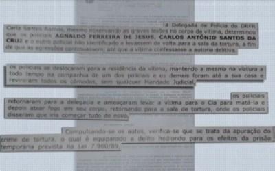 Boletim de ocorrência registrado por mulher contra os policiais relata agressões com chutes, socos e até dedo quebrado — Foto: Reprodução/TV Bahia