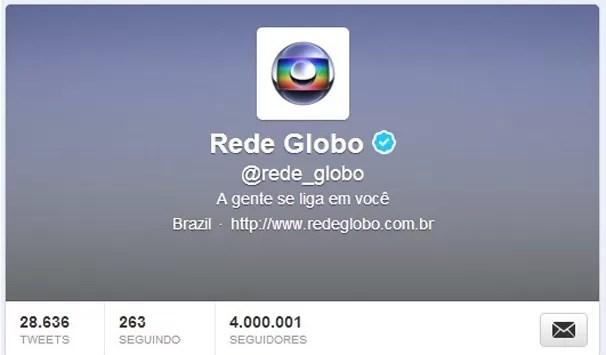Perfil da Rede Globo ultrapassa a marca de 4 MM de seguidores (Foto: Divulgação/ TV Globo)