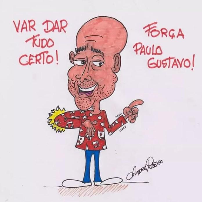 André Ribeiro faz homenagem a Paulo Gustavo — Foto: André Ribeiro/Associação dos Cartunistas do Brasil
