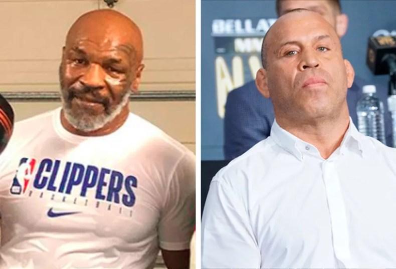 Mike Tyson (esq.) contra Wanderlei Silva (dir.)? Segundo o brasileiro, só depende da lenda do boxe — Foto: Info Esporte