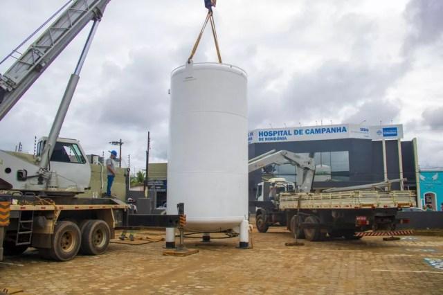 Tanque de oxigênio reserva no Hospital de Campanha de Rondônia — Foto: Ítalo Ricardo/ Governo de Rondônia