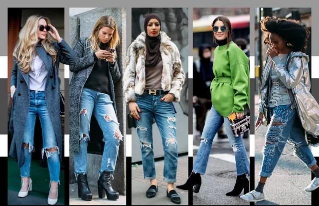 Calça jeans rasgada (Foto: Arte Vogue Online)