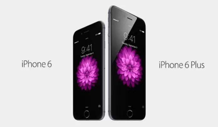 iPhone 6 e iPhone 6 Plus com tamanhos de tela diferentes (Foto: Divulgação/Apple) (Foto: iPhone 6 e iPhone 6 Plus com tamanhos de tela diferentes (Foto: Divulgação/Apple))