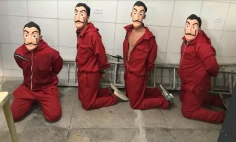 Quatro foram detidos com fantasias da série 'La Casa de Papel' ao tentarem invadir o Cotel, no Grande Recife (Foto: Reprodução/WhatsApp)