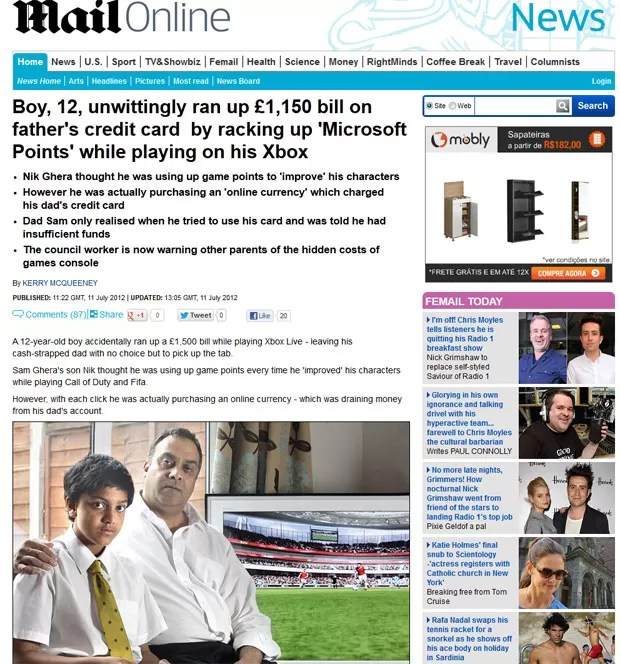 """""""Daily Mail' mostra filho que gastou US$ 2,3 mil do cartão de crédito do pai na Xbox Live (Foto: Reprodução)"""