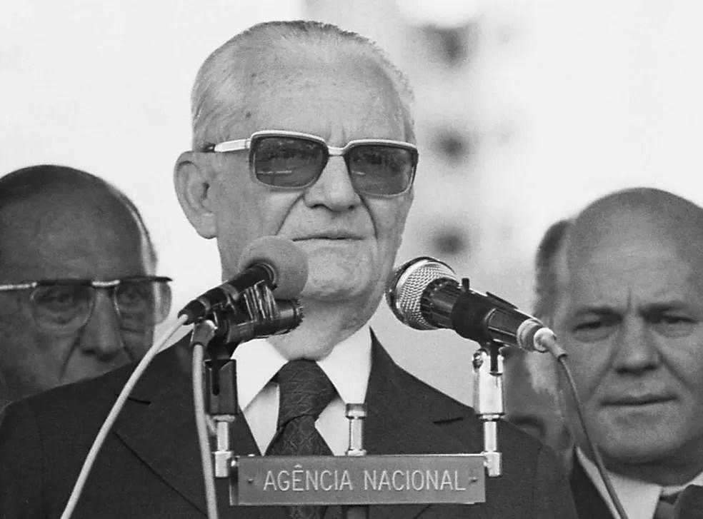 O então presidente da República Ernesto Geisel durante evento em São Paulo em novembro de 1978 (Foto: Estadão Conteúdo/Arquivo)