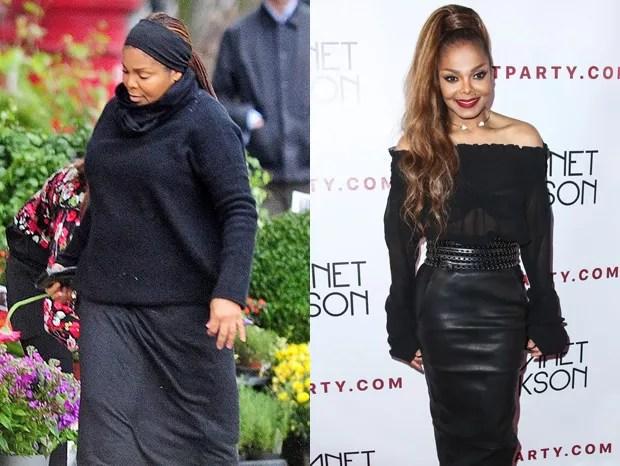 Janet Jackson grávida (em outubro de 2016) e em outubro de 2017 (Foto: Grosby Group e BackGrid)