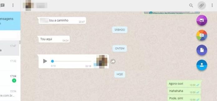 WhatsApp Web oferece mais opções de arquivos para enviar (Foto: Reprodução/ Taysa Coelho)