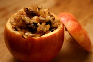 peanut butter, sesame seed, and orange juice stuffed apple snack