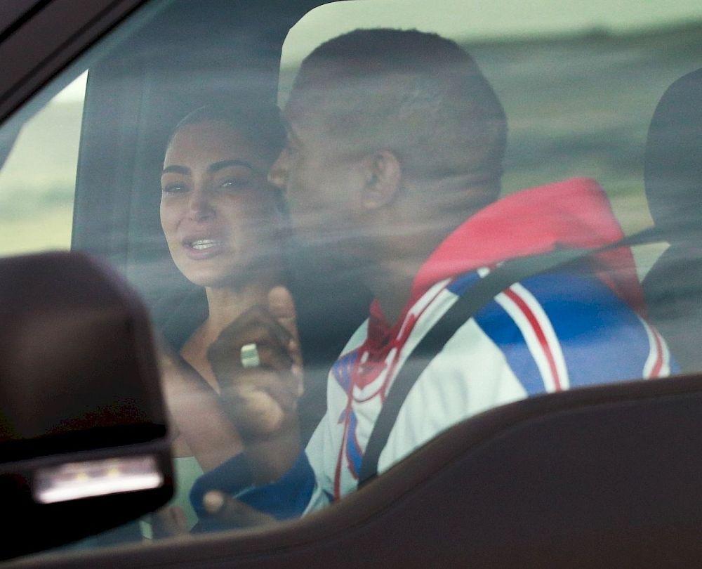 Kim Kardashian cries while talking to Kanye West.
