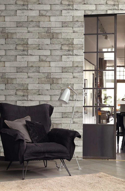 Papier Peint Briques Blanches Au Style Indus Leroy Merlin