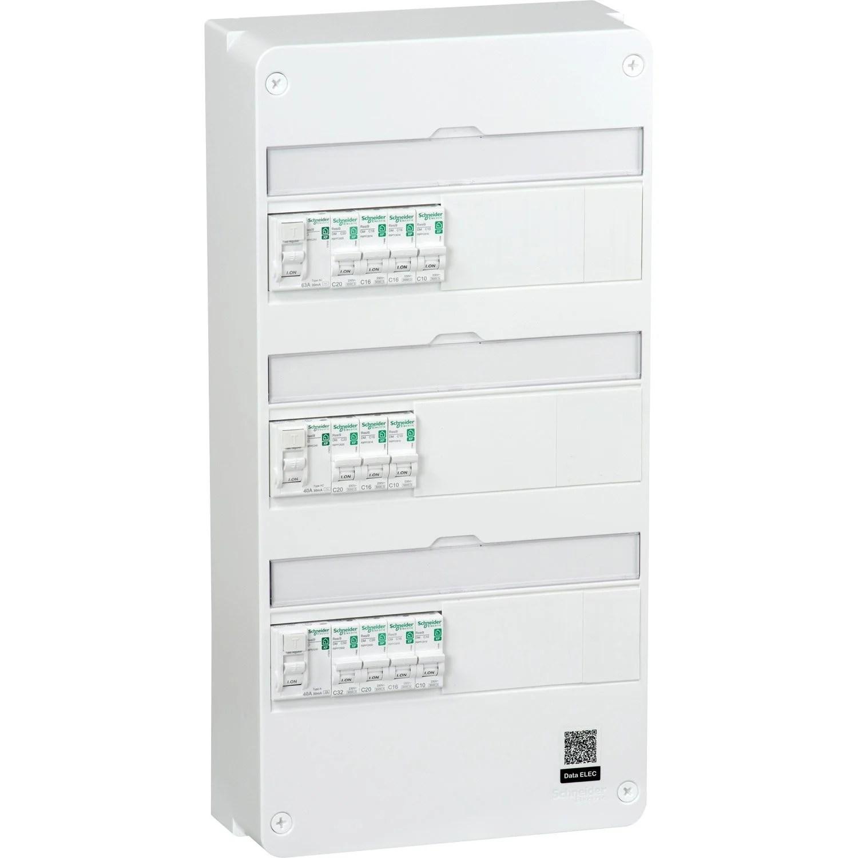 tableau electrique equipe et precable schneider electric 3 rangees 39 modules