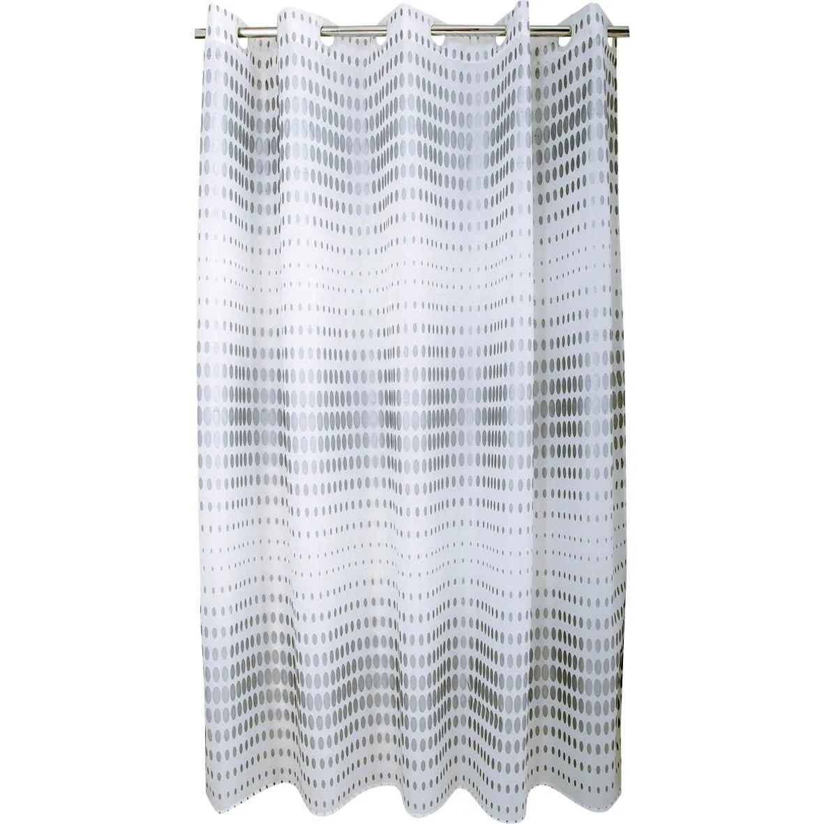 Rideau De Douche En Textile Argent L 180 X H 200 Cm Flash