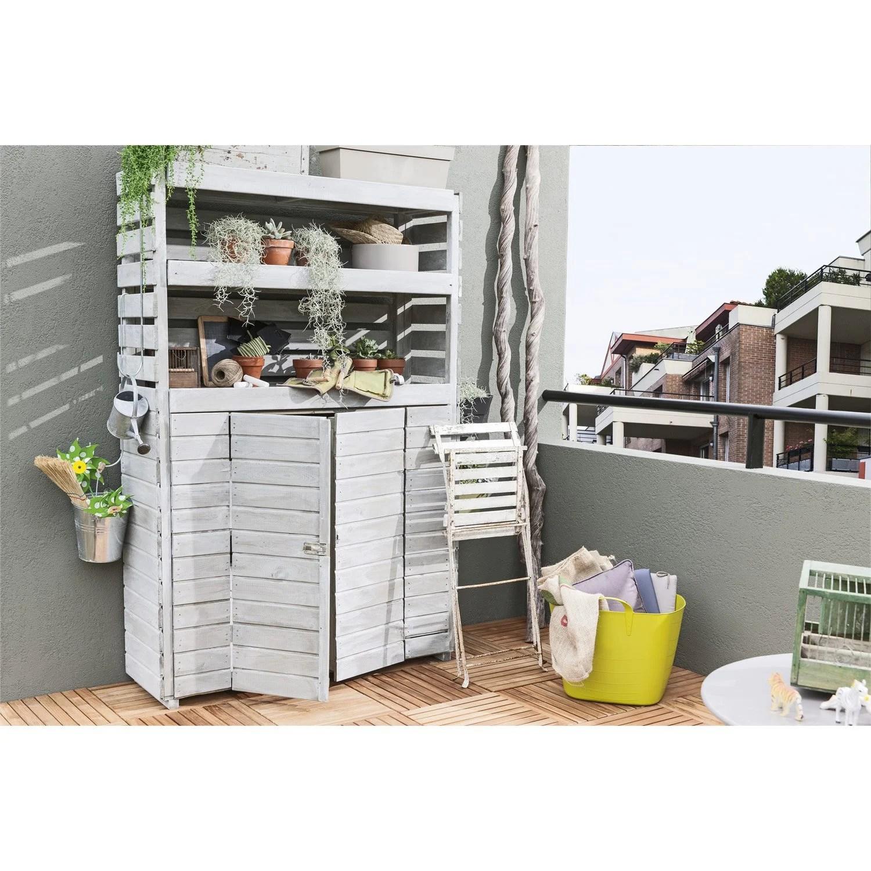 armoire de jardin bois beli naturelle l 120 x h 180 x p 39 cm