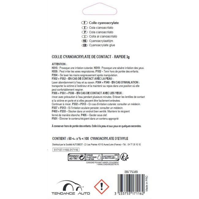 2 Tubes De Colle 3g Cyanoacrylate Ultra Rapide Tendance Auto Norauto Fr