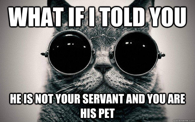 what if I told you he is not your servant and you are his pet
