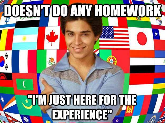 Meme of exchange student,
