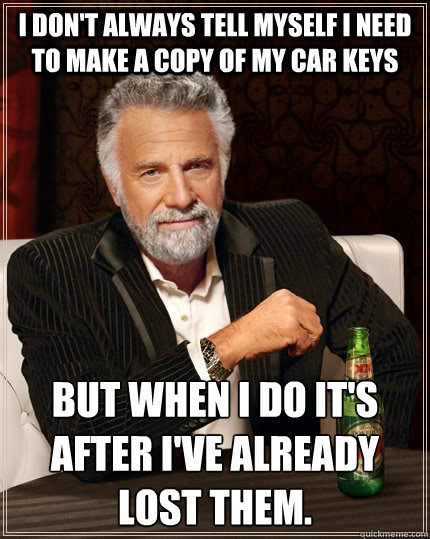 Get a duplicate car key before you need a car key replacement.