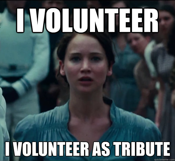 Image result for hunger games i volunteer meme