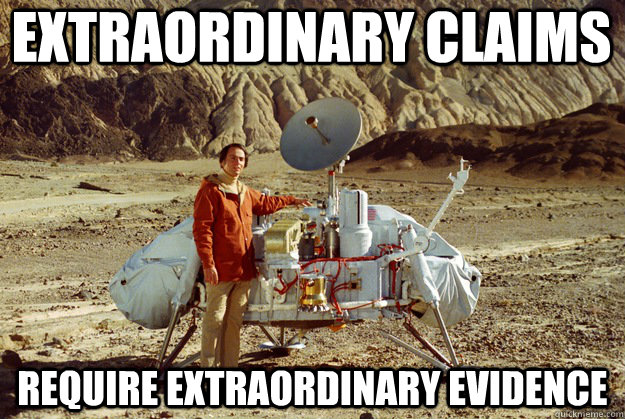 Image result for Carl Sagan extraordinary claims gif