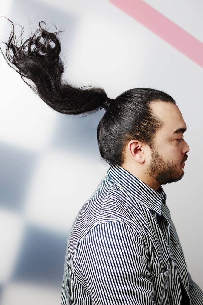 men with long hair in updos, female hairstyles