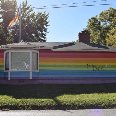 Equality House vandalized with anti-gay graffiti, bullet holes
