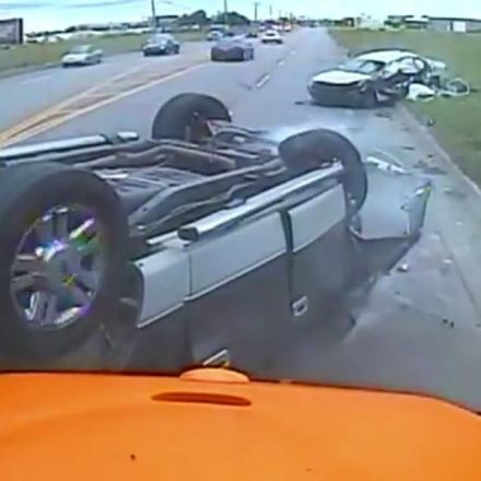 Dashcam captures frightening Oklahoma crash involving school bus