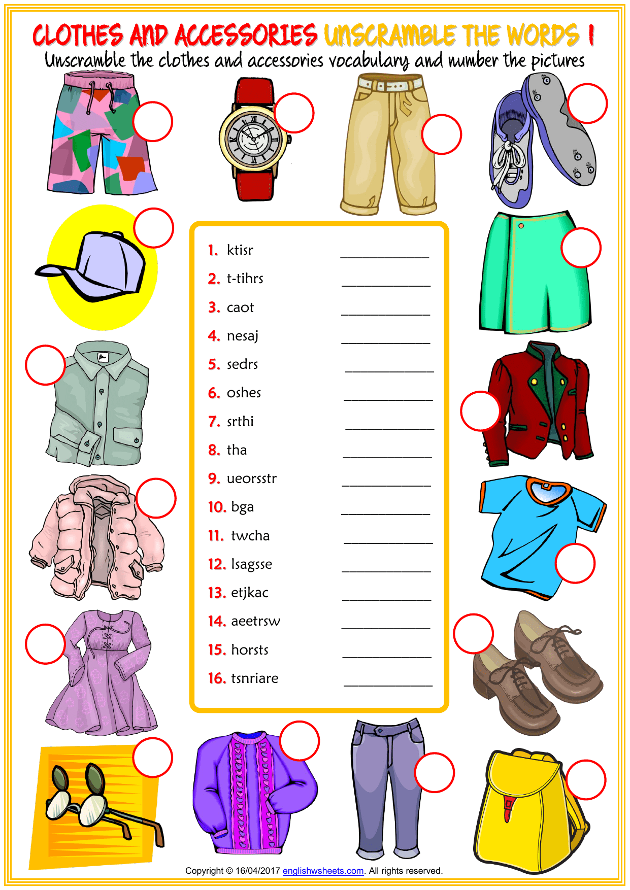 Clothes And Accessories Vocabulary Esl Unscramble The