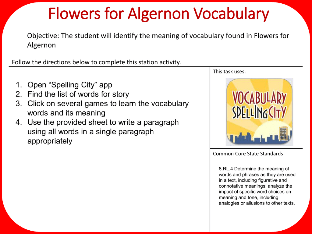 Flowers For Algernon Vocabulary