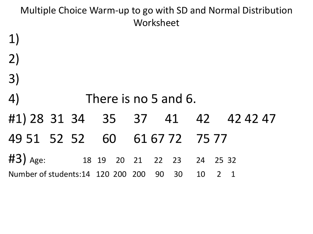Sd And Normal Distribution Worksheet