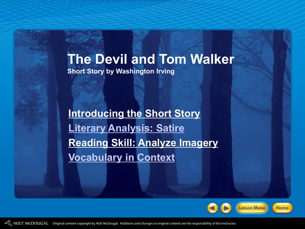 The Devil And Tom Walker Short Story By Washington Irving