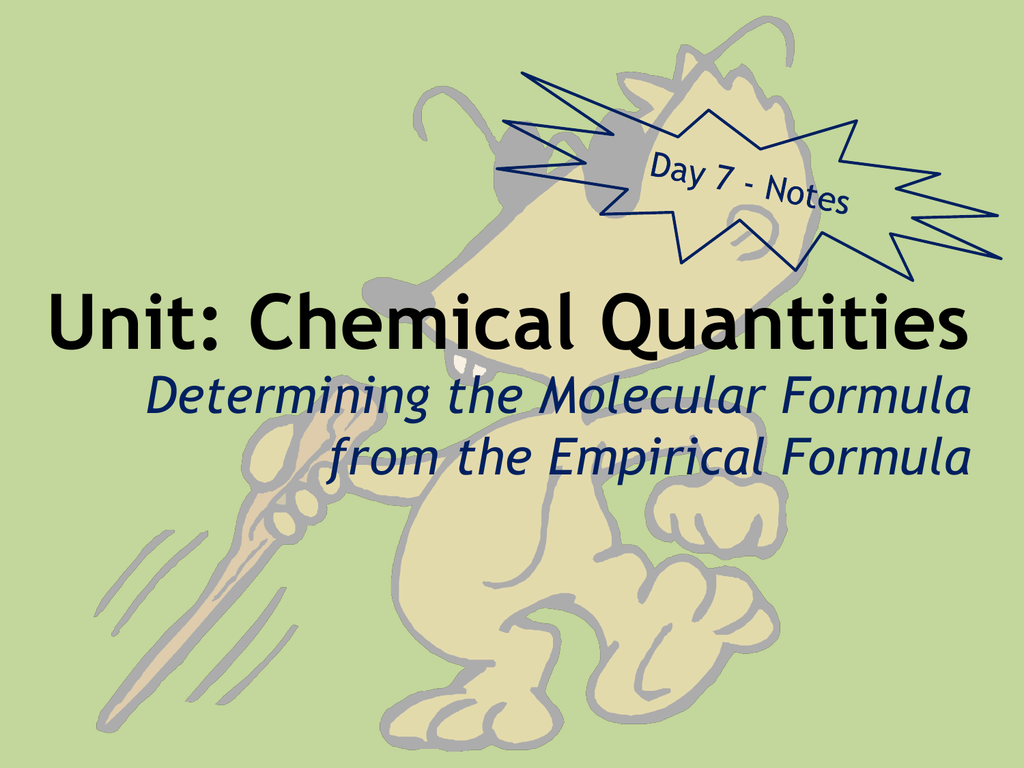 Unit Chemical Quantities Determining The Molecular