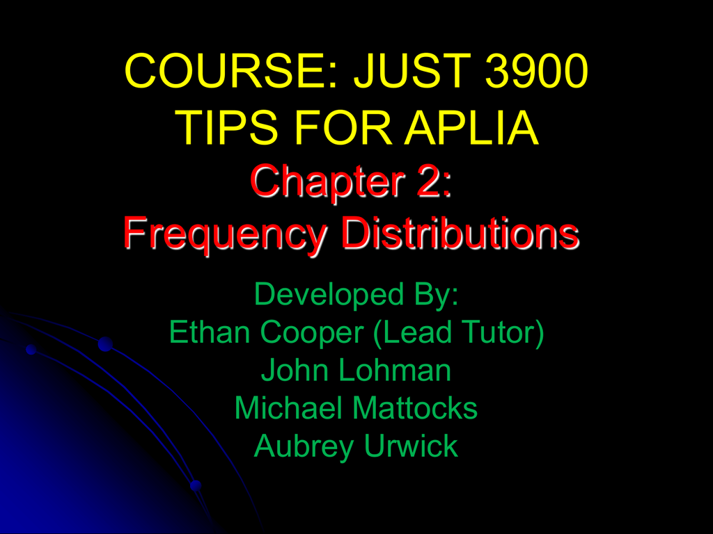 Chapter 2 Frequency Distributions Helpful Hints For Aplia