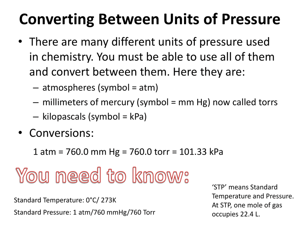Converting Between Units Of Pressure