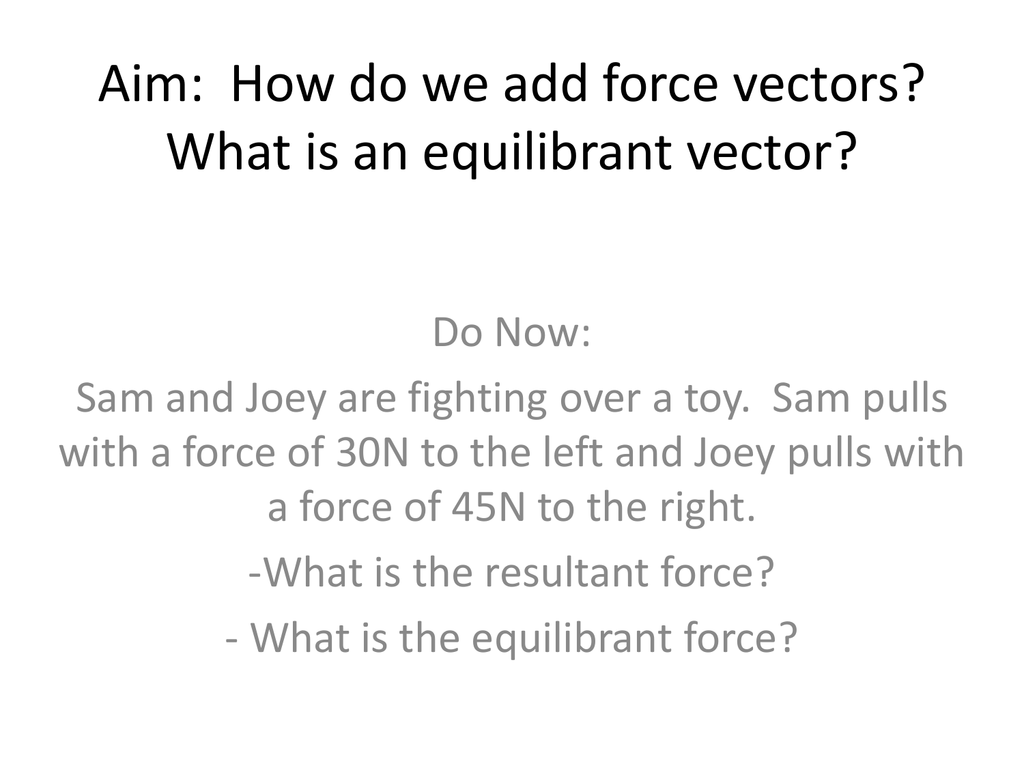 Aim How Do We Add Force Vectors What Is An Equilibrant