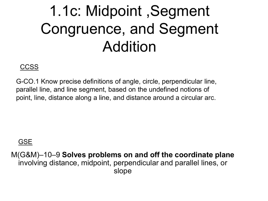 Midpoints And Segment Bisectors Worksheet Answers