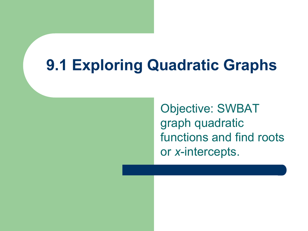 9 3 Graphing Quadratic Functions