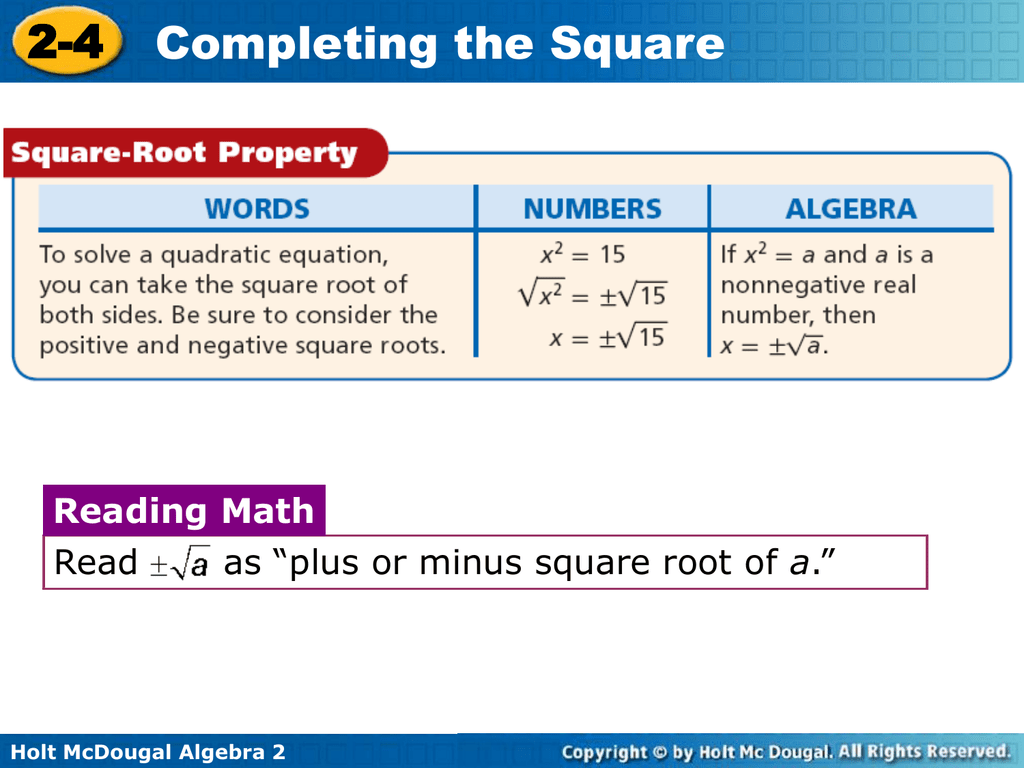 Graphing Quadratic Functions By Completing The Square