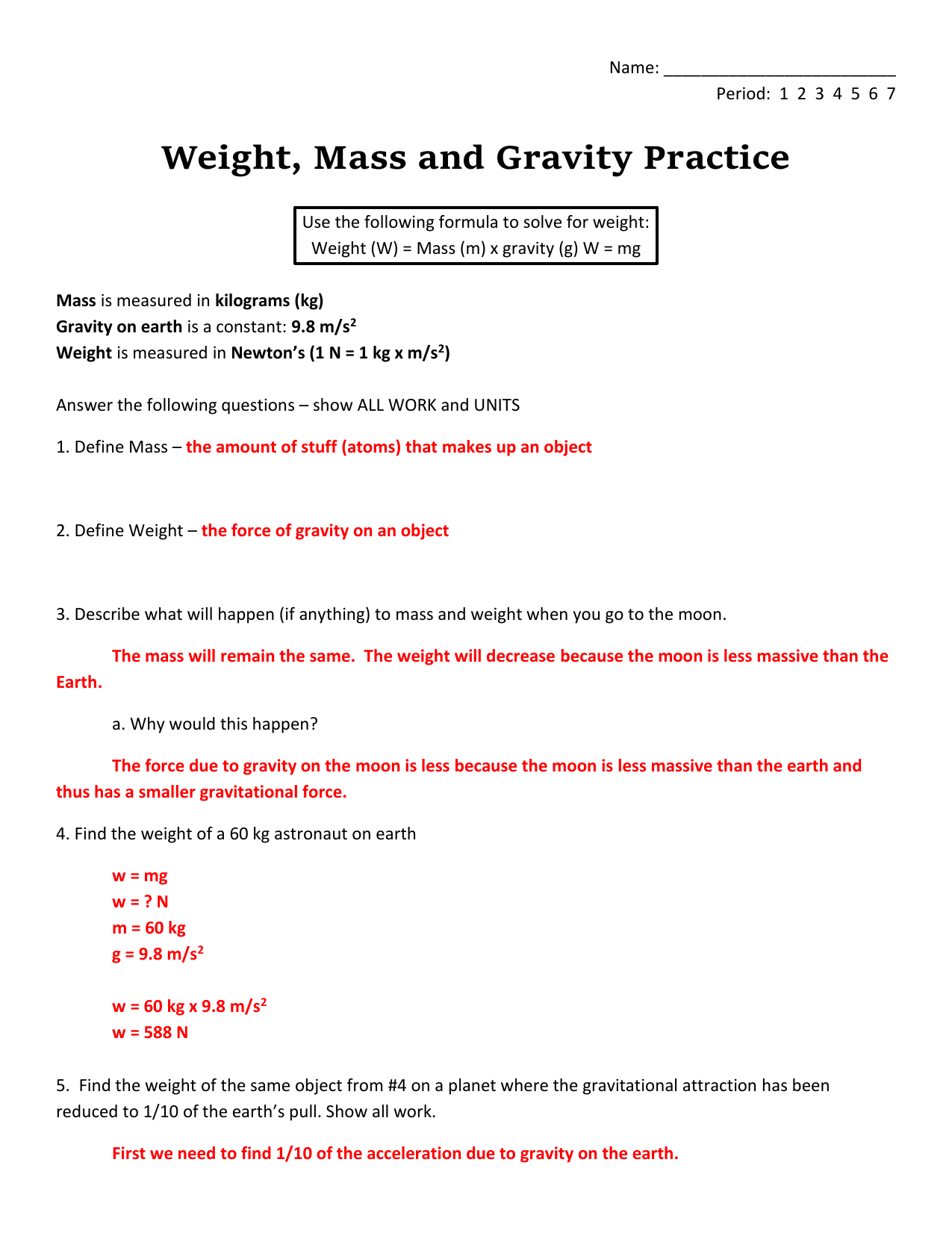 Worksheet Mass Vs Weight Worksheet Worksheet Fun