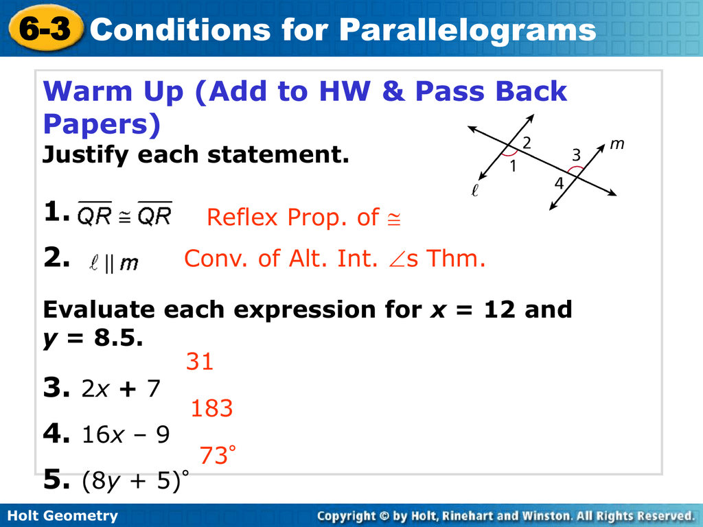 100 6 3 Conditions For Parallelograms Answer Key
