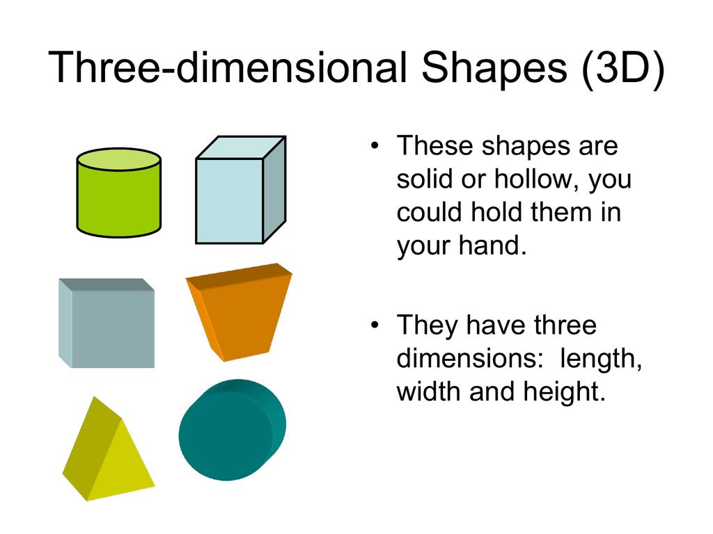 Three Dimensional Shapes 3d