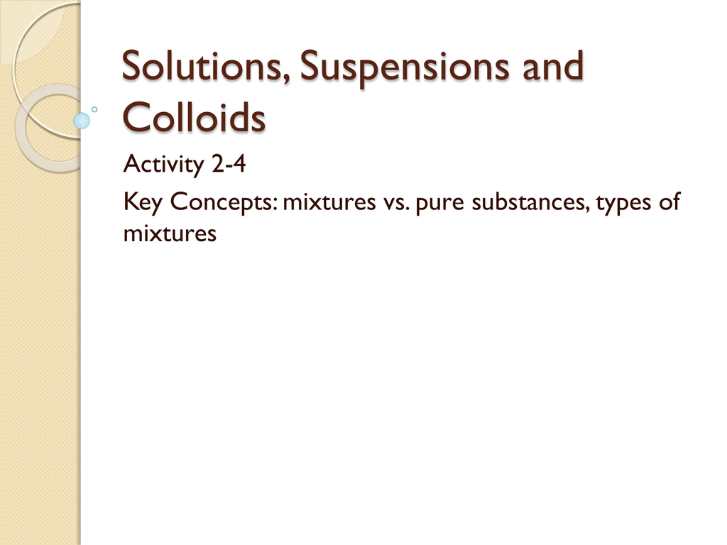 Solutions Suspensions Amp Colloids