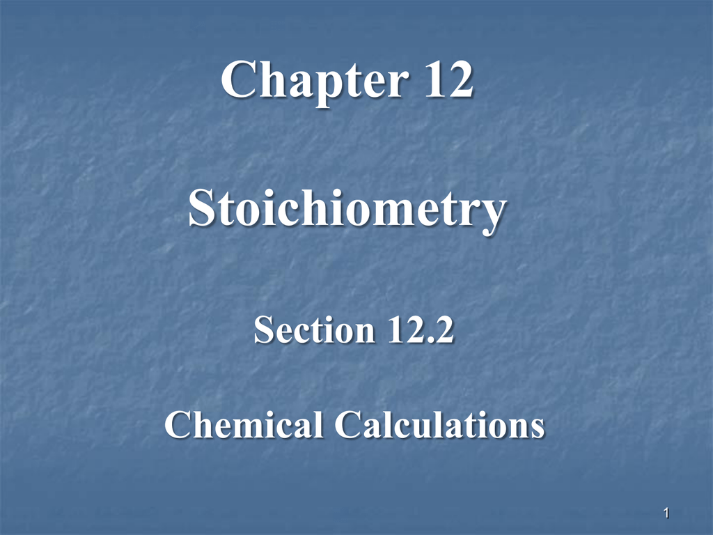 122 Chemical Calculations Worksheet Answers