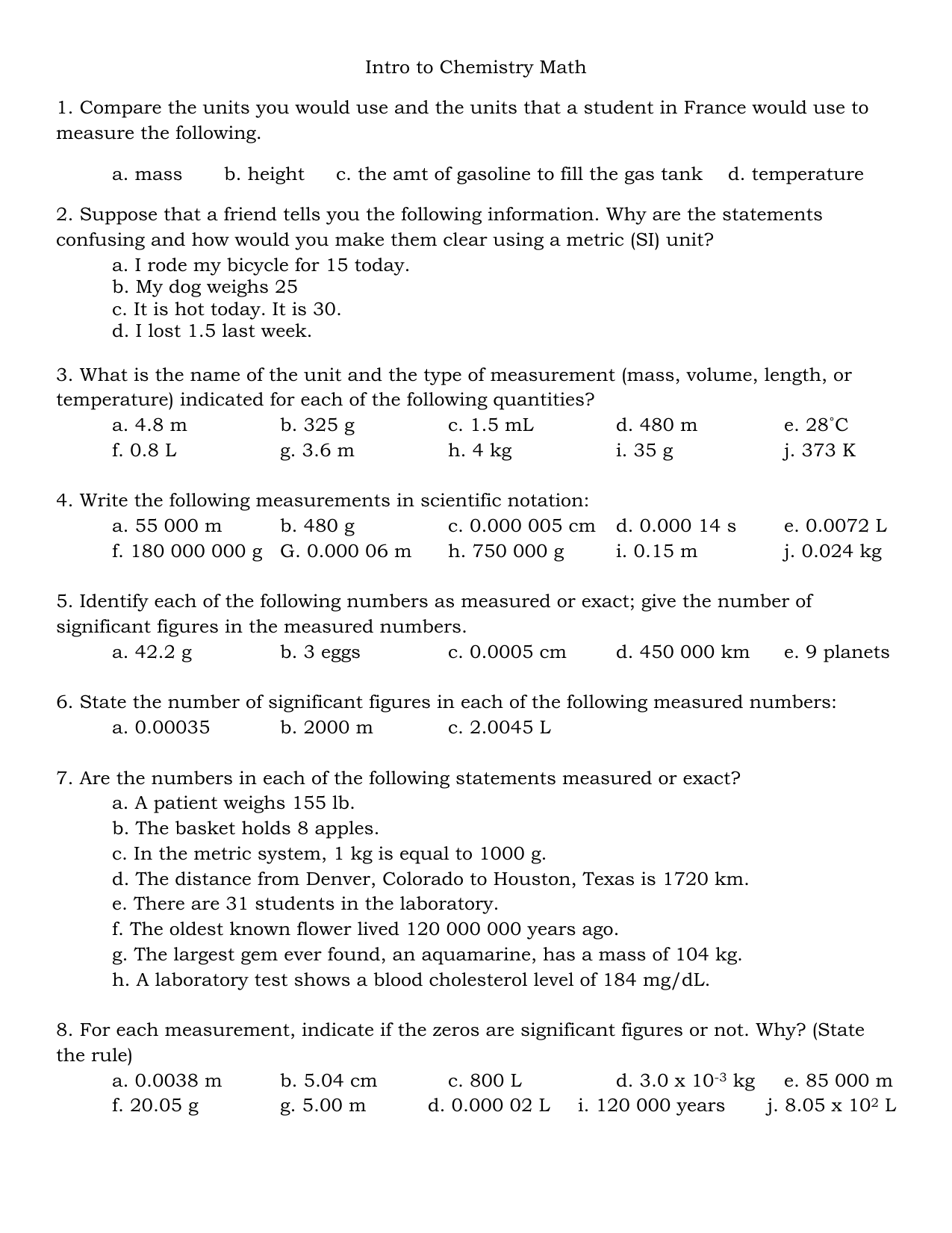 Intro To Chemistry Math Worksheet 1 23 12