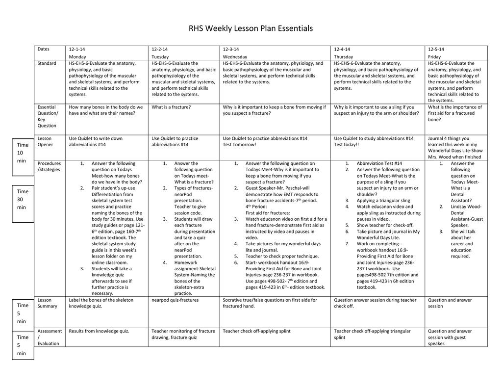 Lesson Plans Skeletal System Week Of 12 1 14