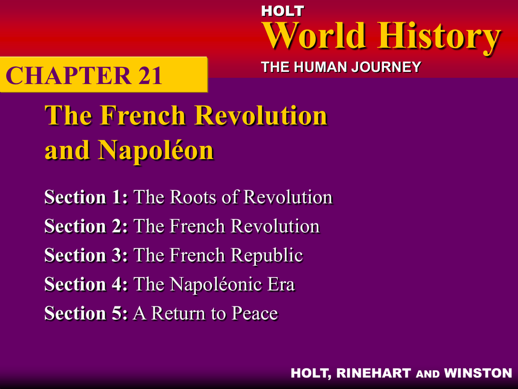 Chapter 21 The French Revolution And Napoleon