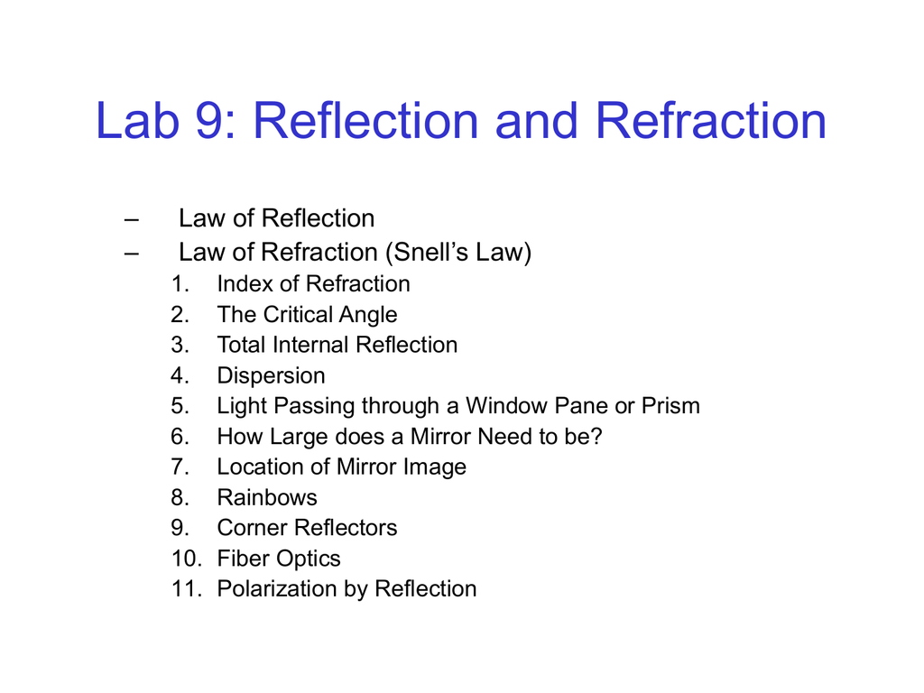 Lab 9 Reflection And Refraction