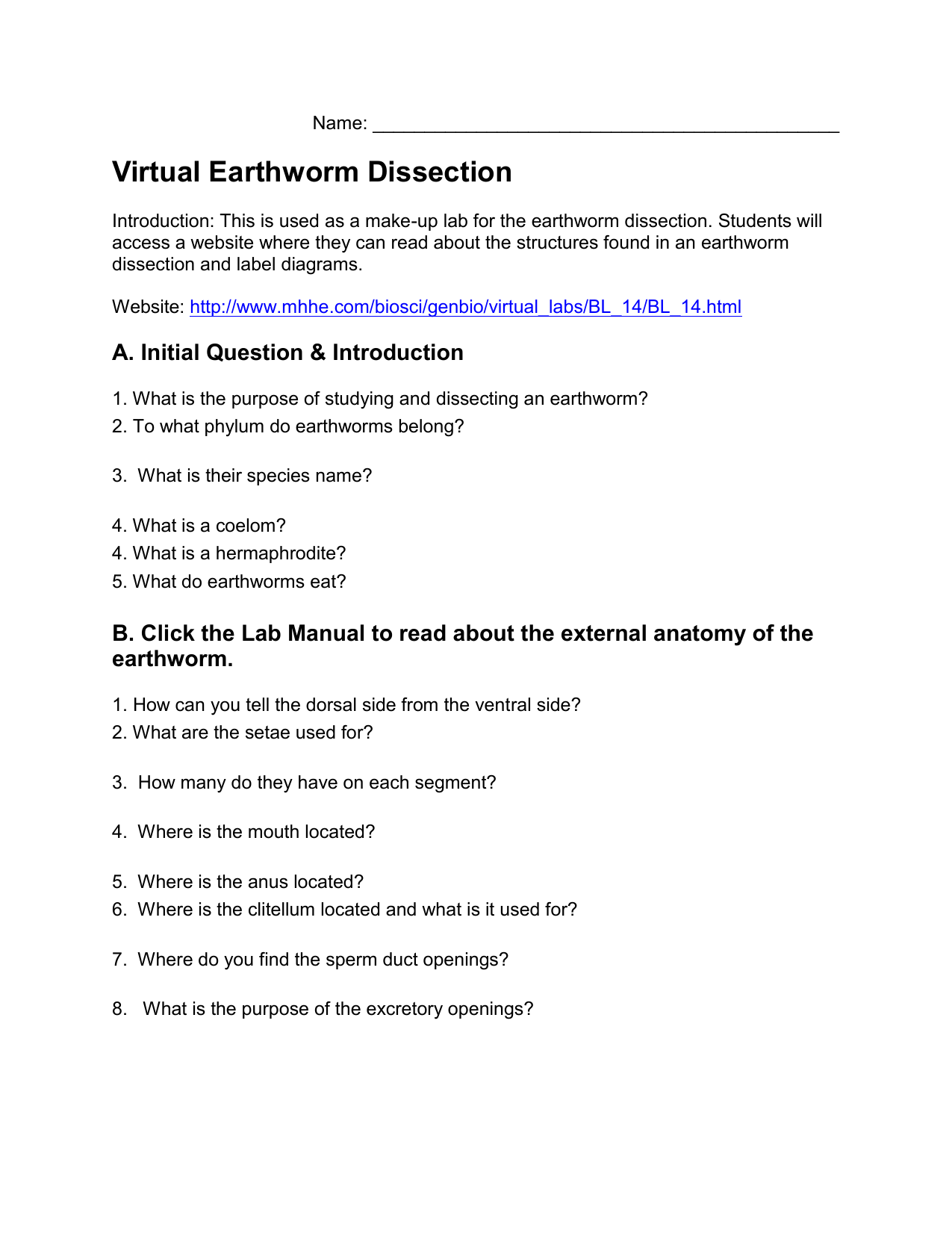 Earthworm Dissection Lab Report Answers