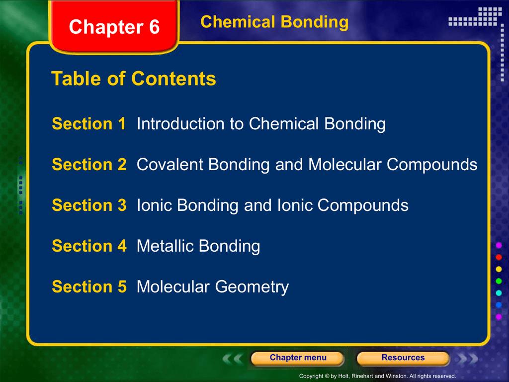 Chapter 6 Bonding Power Point